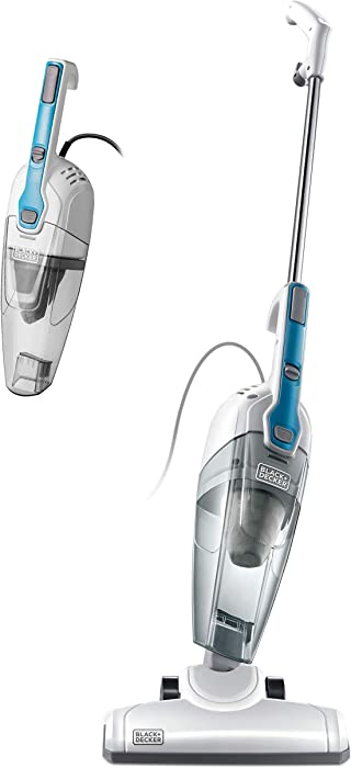 Black & Decker BDST1609 3-in-1 Corded Lightweight Handheld Cleaner & Stick Vacuum Cleaner, White with Aqua Blue