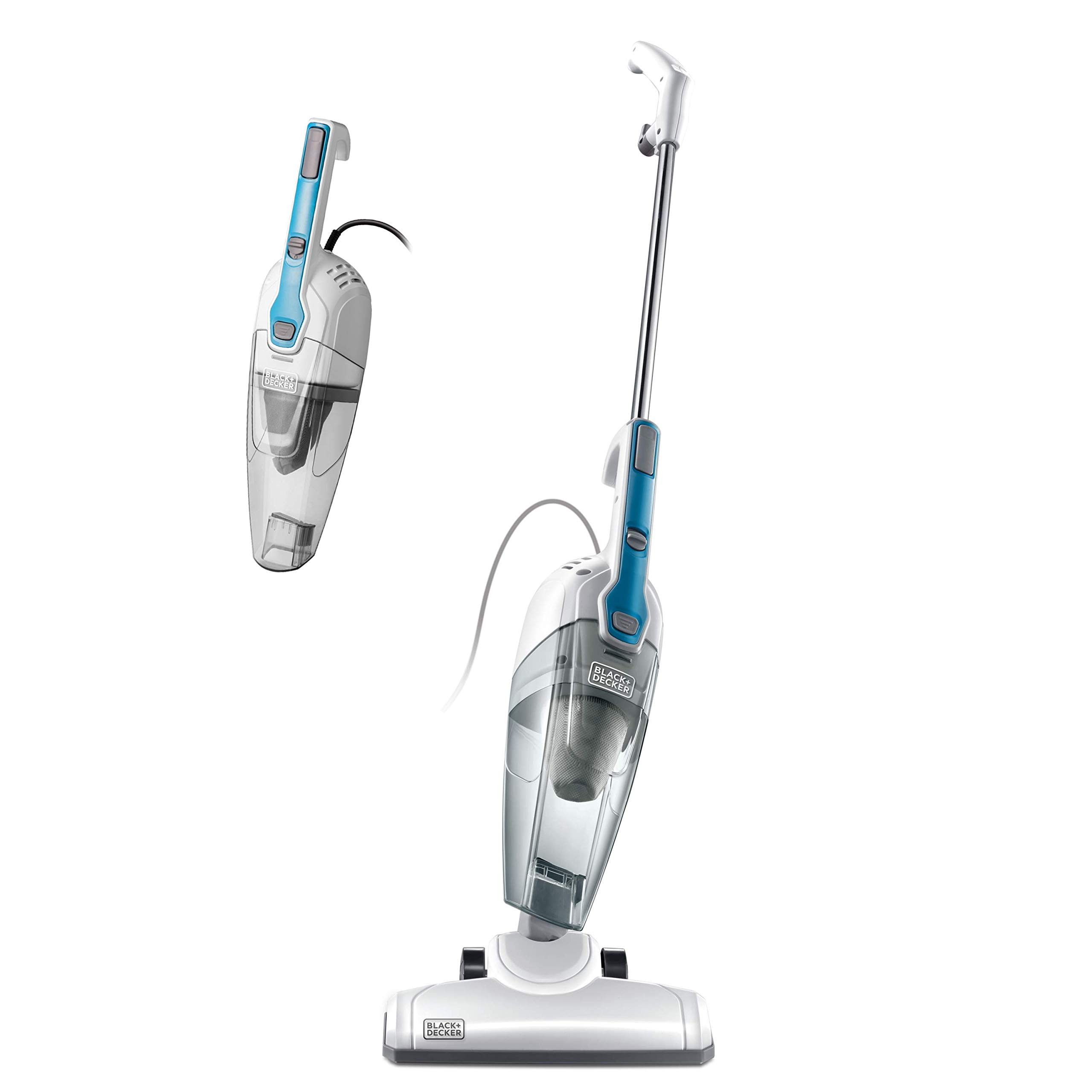 Black & Decker BDST1609 3-in-1 Corded Lightweight Handheld Cleaner & Stick Vacuum Cleaner, White with Aqua Blue by BLACK+DECKER