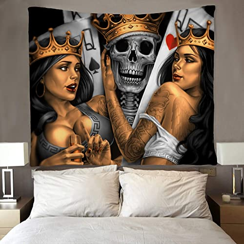 SARA NELL Tapestry Playing Cards King Skull and Queen Women Funny Tapestries Hippie Art Wall Hanging Throw Tablecloth 60X90 Inches for Bedroom Living Room Dorm Room