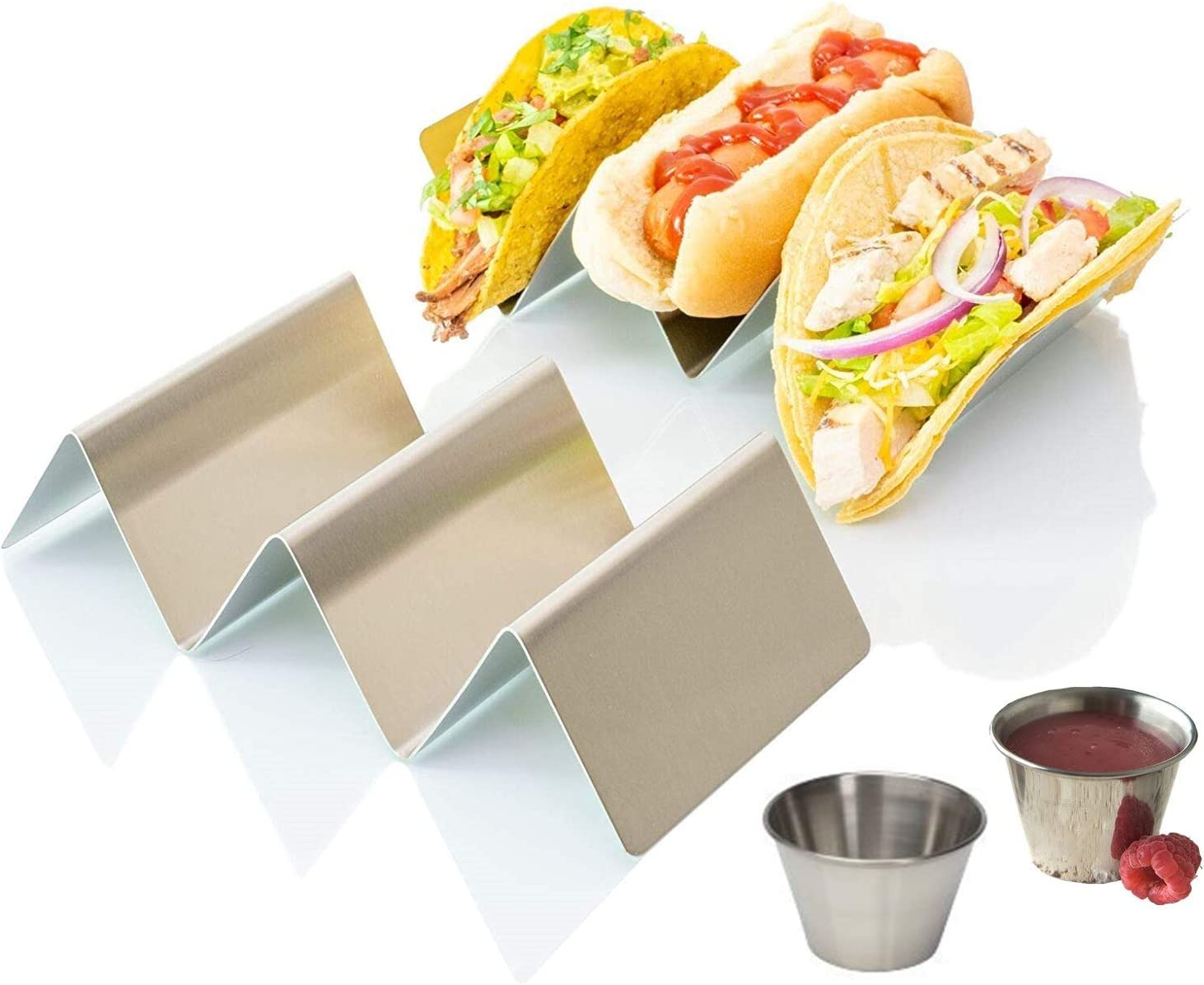 Taco Holder Stand Rack |Stainless Steel 4-Pack Mexican Food Serving Tray Stands Hold Up To 3 Tacos, Burritos, Hot Dogs