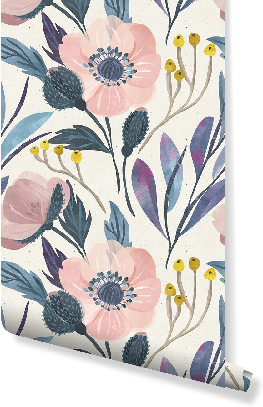 Temporary Self Adhesive Wallpaper With Watercolor Floral Pattern