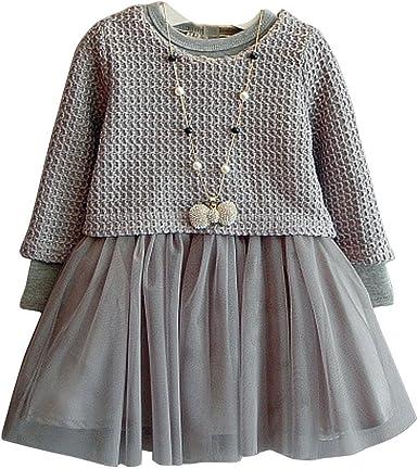 ARAUS Vestido Niñas Falda Tul + Camiseta Tops de Punto Jerséis ...