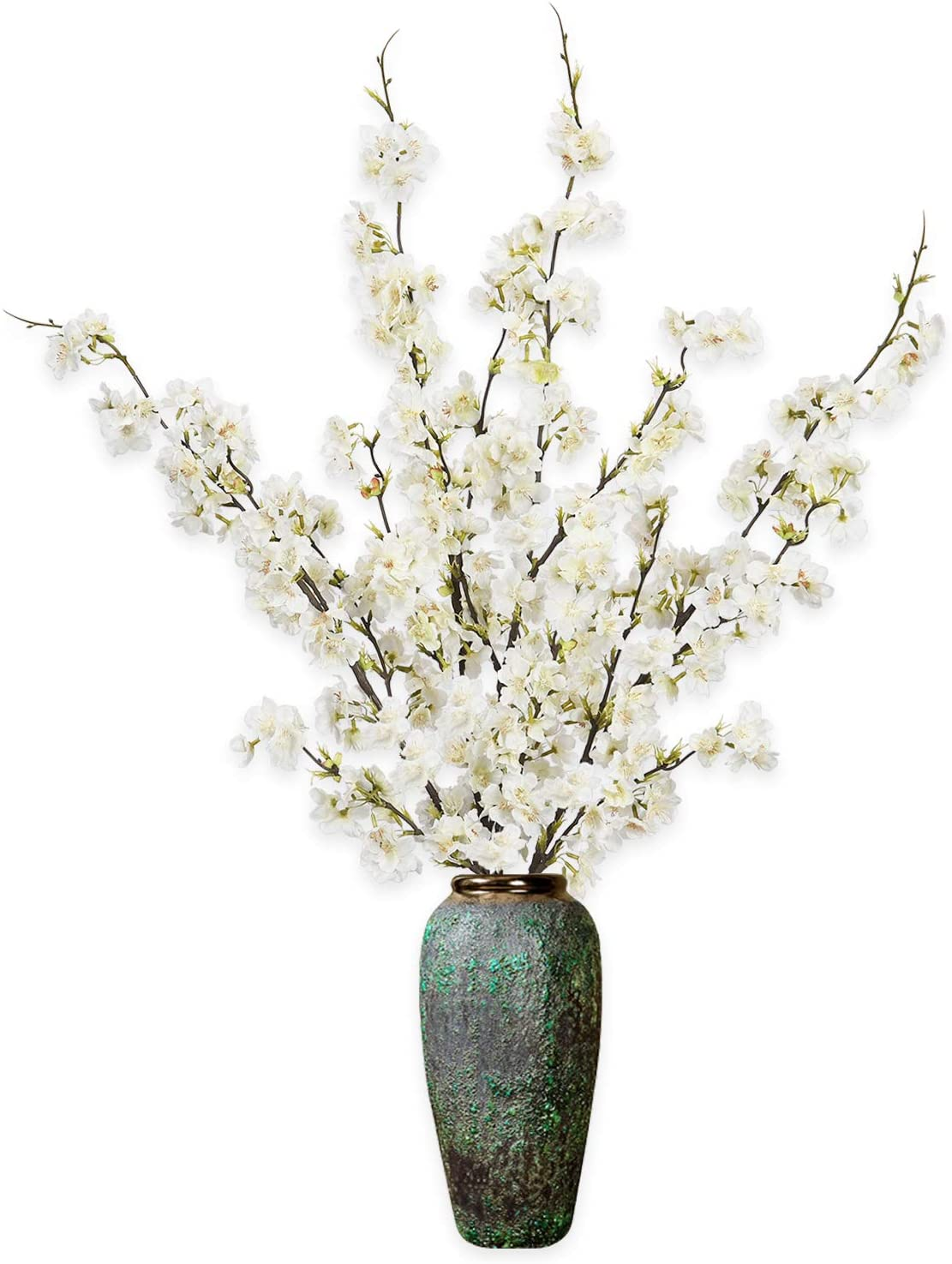 """Shiny Flower 4PCS Artificial Cherry Blossom Flowers, Silk Peach Flowers Arrangements Tall Artificial Plant 42.9"""" in Tall for Wedding Office Party Hotel Yard Home Decoration"""
