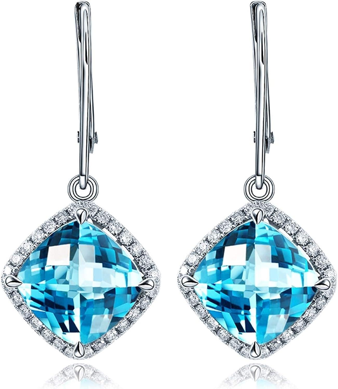 AueDsa Pendientes Oro Blanco Pendientes de Mujer Oro Blanco 18 Kilates Cuadrado Diamante Cojín Topacio Azul Blanco 5.7ct