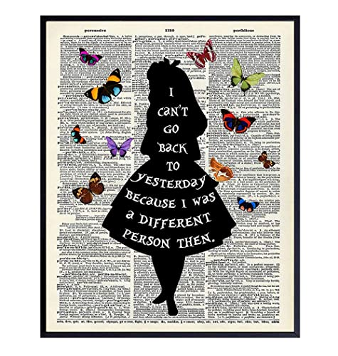 Amazon Com Alice In Wonderland Quote Dictionary Art Print Upcycled Home Decor Wall Poster Unique Room Decorations For Bedroom Office Girls Or Kids Gift Disney Fans