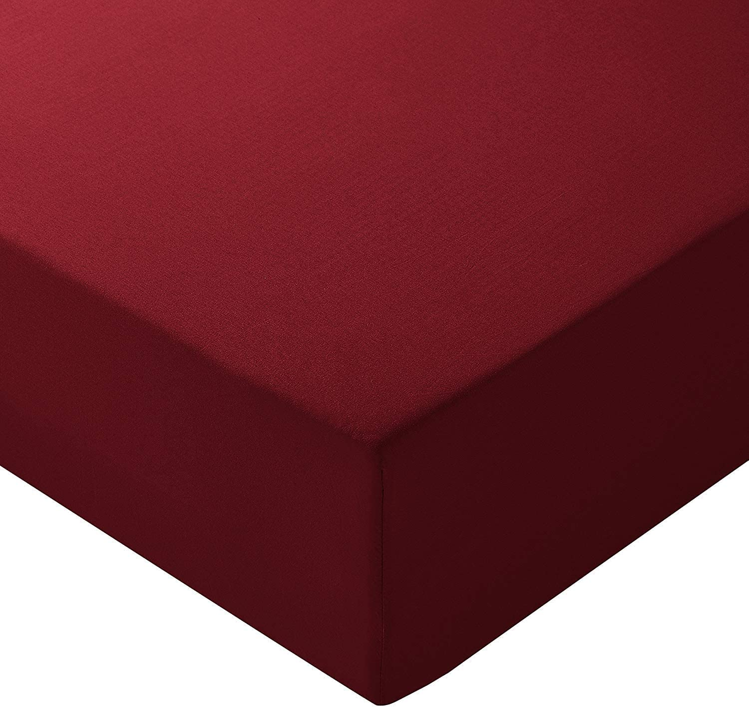 """Ras Decor Linen Fitted Sheets California King, Burgundy Solid 100% Cotton 400 Thread Count Fitted Bottom Sheet Only, with Elastic All Around - Fits Mattress Upto 14"""" to 16"""" Inch Extra Deep Pocket"""