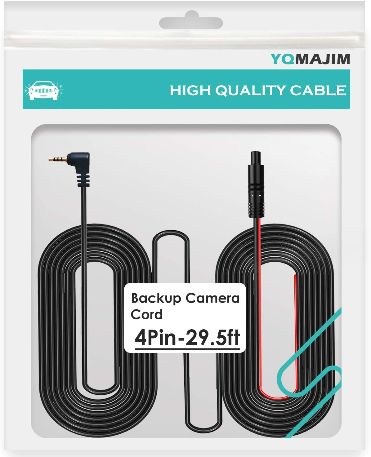 4 Pin Dash Cam Cable,29.5 Ft 4 Pin to 2.5mm Male Back Up Camera Cable,Dash Cam Reverse Camera Mirror Camera Cable with Trigger Cable,Fit for Pickup Truck Trailer SUV RV