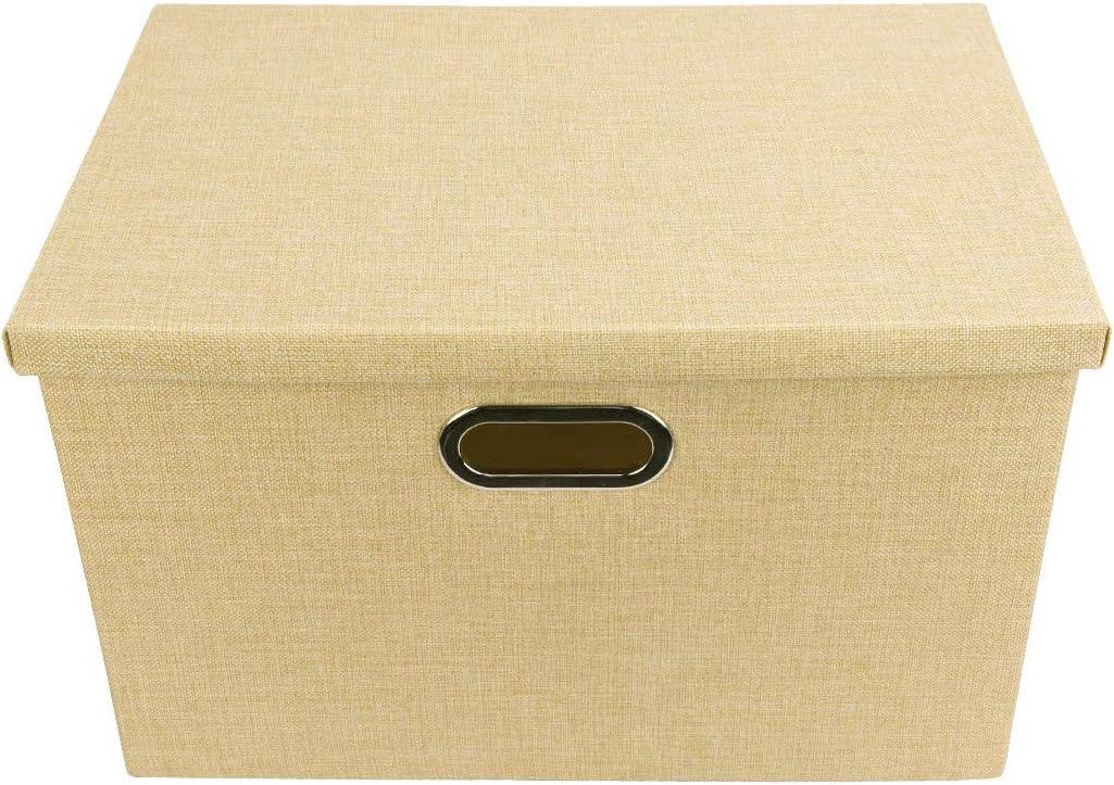 EZSTAX Caja de Almacenamiento con Tapa Caja de Tela para Dormitorio Accesorio Organizador: Amazon.es: Hogar
