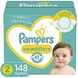 Pampers Swaddlers - Pañales Etapa2, 148 Piezas. Para bebés de 5.5 a 8 Kg.