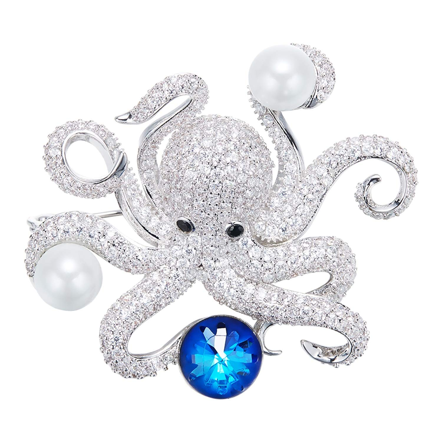 AMDXD Glittering Brooches Octopus Brooch Pin Unisex Brooch Needle Evening Dress Shirt with Blue Crystal