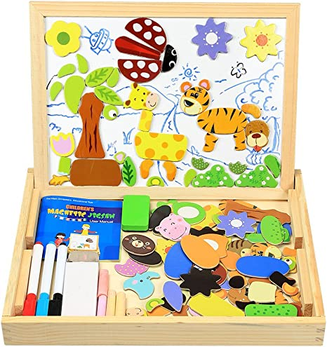 Toys Kids Gift Magnetic Cut Animal Jigsaw Puzzle Drawing Board Games Birthday