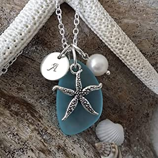 product image for Handmade in Hawaii, Personalized Turquoise bay blue sea glass necklace, Starfish charm, Freshwater pearl, (Hawaii Gift Wrapped, Customizable Gift Message)