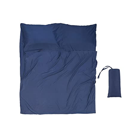 Saco de Dormir Suave de Doble tamaño – sábana de Viaje Ligera para Acampada, Saco