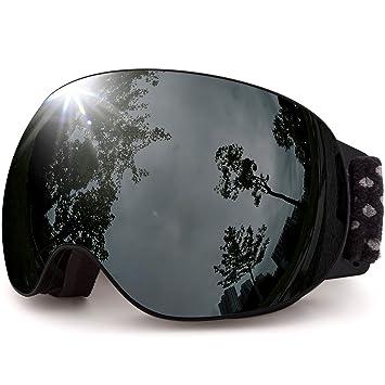 MEETLOCKS OTG Ski Lunettes Masques,Lunette de ski sphérique avec Revêtement d'argent HD lentille interchangeable, Anti-buée Protection UV400,Casque Compatible Snow Eyewear Snowboard Lunettes de soleil