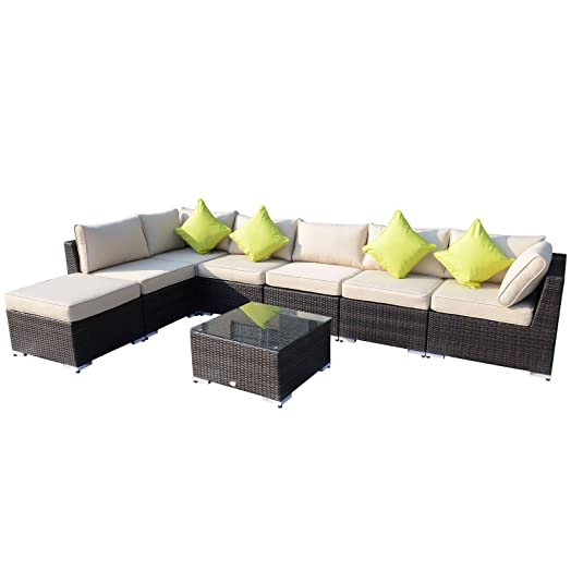 Outsunny 8PC RATTAN SOFA GARDEN FURNITURE ALUMINIUM OUTDOOR PATIO