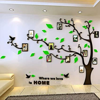 bceb55bc5b Amazon.com: DIY Large Family Photo Frame Tree Crystal 3D Acrylic Decorative  Art Wall Sticker for Sofa TV Background Wall and Living Room (M, tree  right): ...