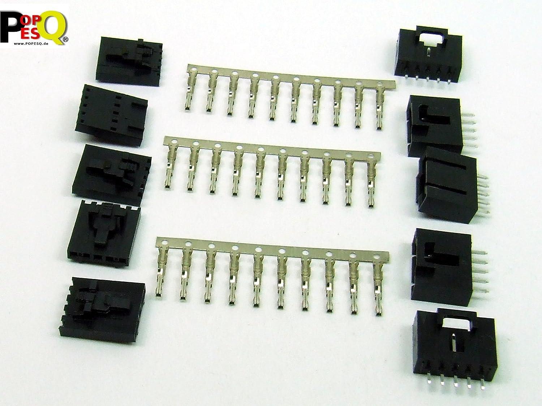 femelle contacts /à sertir 2.54mm DUK254 #A2008 POPESQ/® Kit Connecteur m/âle DROIT 5 Broches