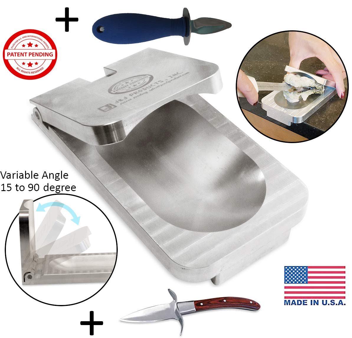 [ J&J Products ] The EZ - Oyster Variable Angle Opener Shucking Tool with Oyster Shucking Knife with Wood Handle & Oyster Shucking Knife with Plastic Handle