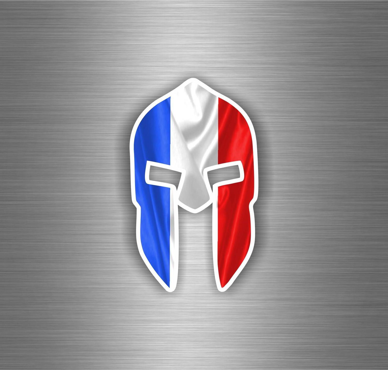 Autocollant Sticker Voiture Moto Guerrier Trojan Spartan Drapeau France Francais akacha SKU006274