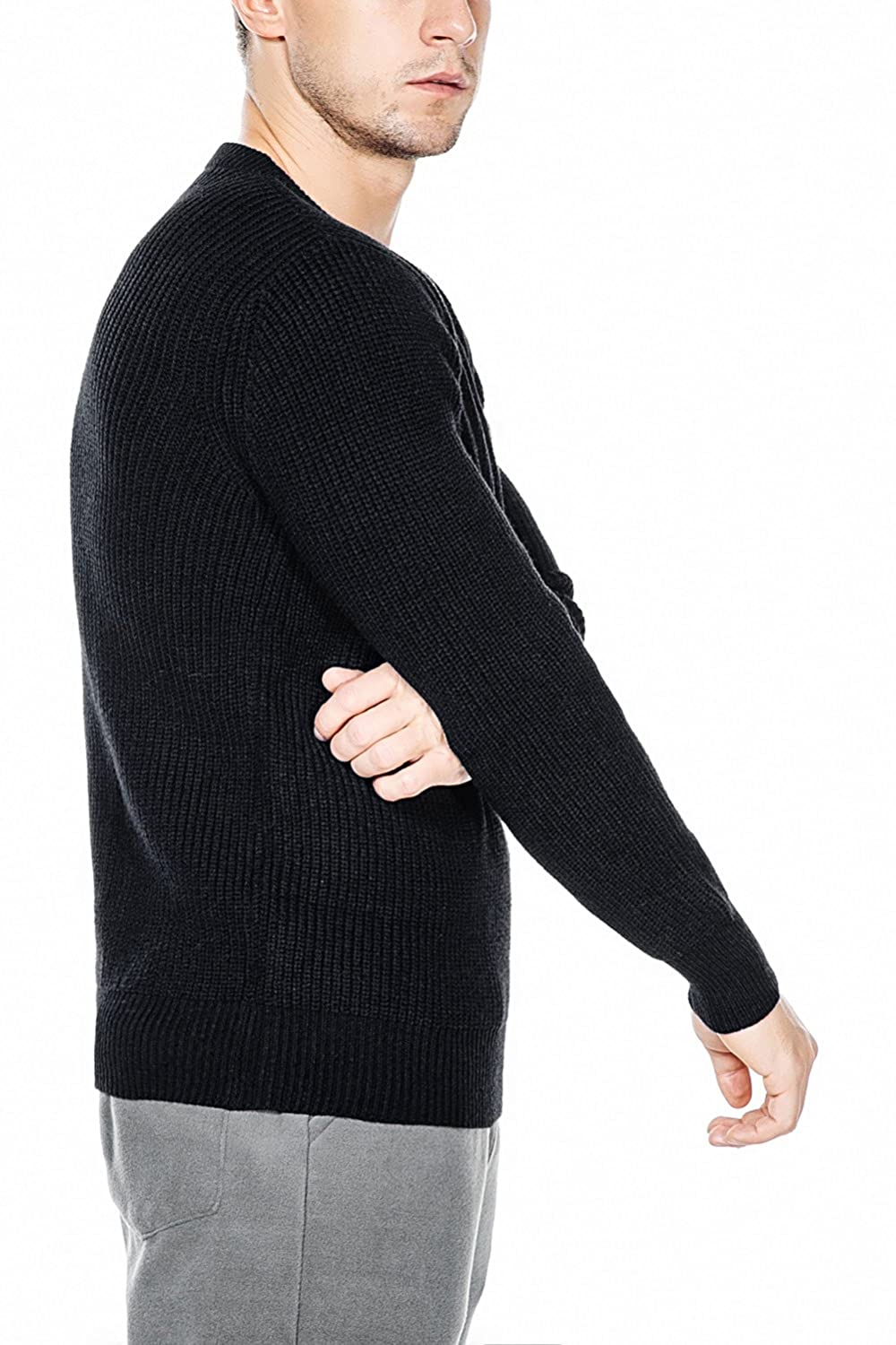 Rocorose Mens Knit Pullover Sweater Winter Ribbed Long Sleeves Crew Neck