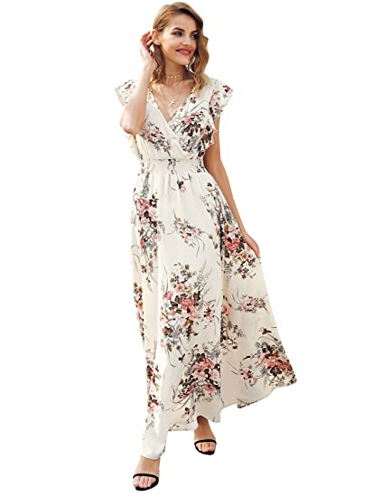 73ad21891f959 Simplee Women Sexy Backless V Neck Faux Wrap Beach Dress Boho Long Maxi  Dress, Floral