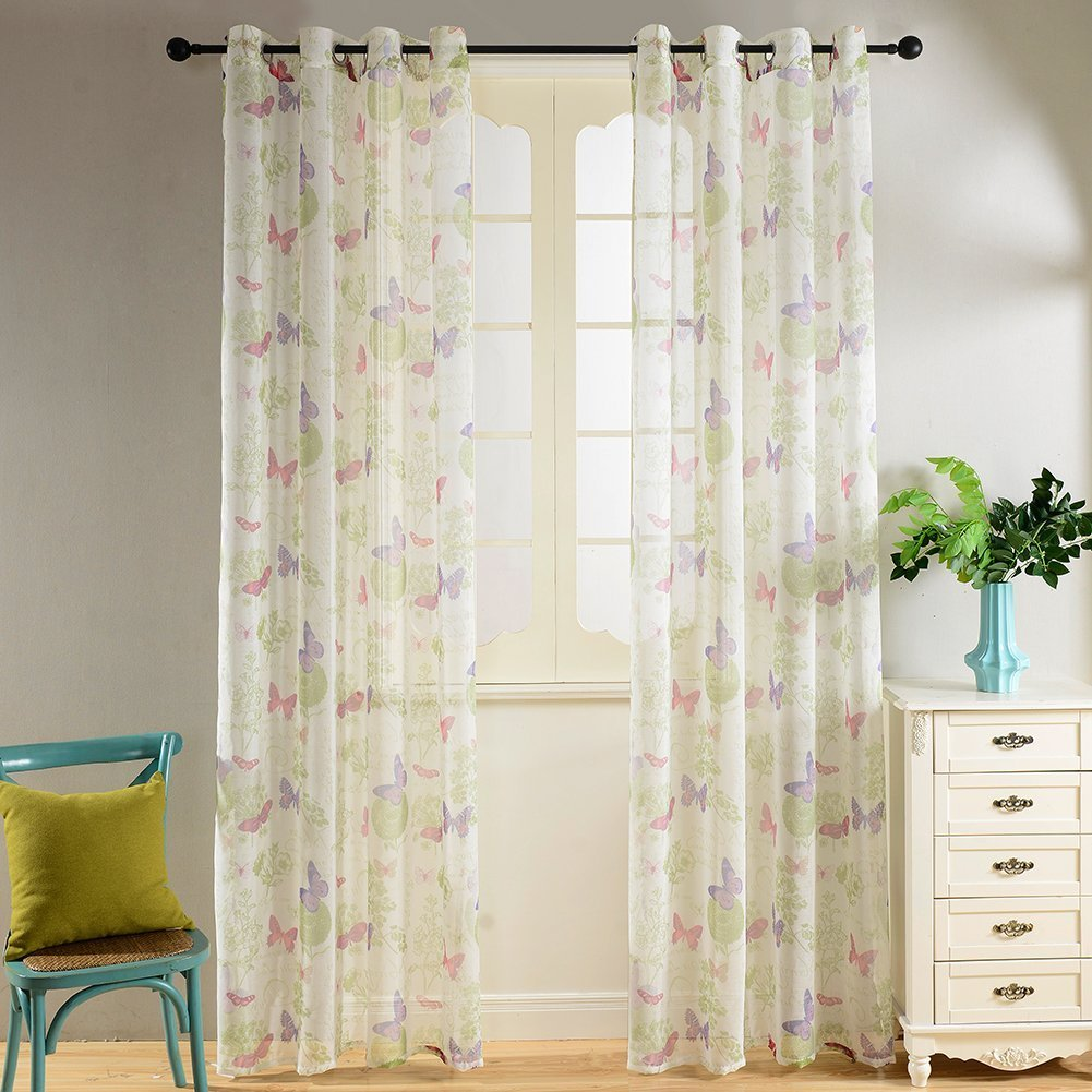 Top Finel Semi Sheer Living Room Drapes Butterfly Grommet Curtains for Kids Bedroom, 54'' W x 84'' L, Single Panel