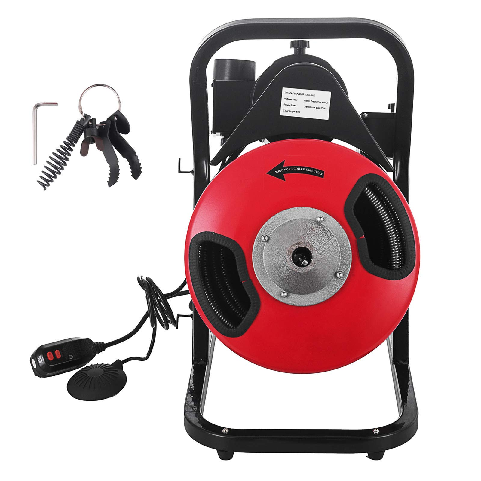 SHZOND Drain Cleaning Machine 1/2 Inch x 50 Ft Drain Cleaner Machine with 4 Cutter and Foot Switch Electric Drain Pipe Cleaner for 1 to 4 Inch Pipes (50 FT) by SHZOND (Image #1)