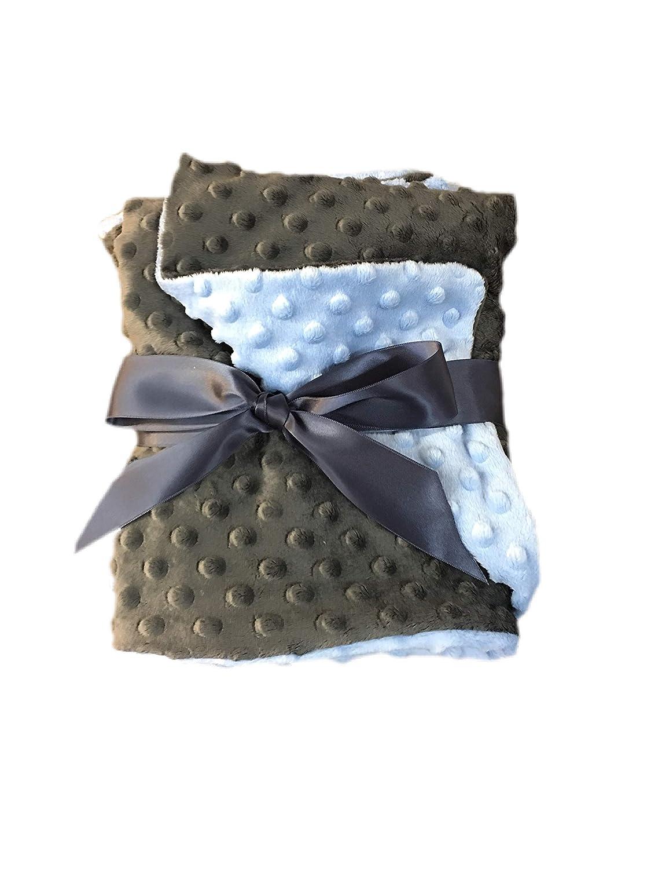 luvfabrics ミンキードットベビーブランケット 両面スロー ベビーブルー/チャコール 幼児用寝具 29インチ x 36インチ 子供部屋用   B07JLM1337