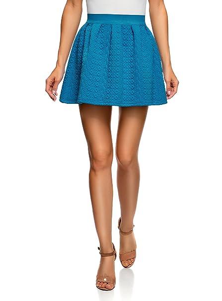 oodji Ultra Mujer Falda de Tejido Texturizado con Cinturón Elástico, Azul, ES 34 /