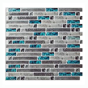 "Cocotik 10.5""x10"" Peel and Stick 3D Wall Tile for Kitchen Backsplash - Pack of 6"