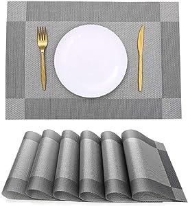 Winssi Placemats Set of 6, Crossweave Woven Vinyl Heat-Resistant Non-Slip Placemat Washable PVC Table Mats (Silver Gray, 6pcs placemats)