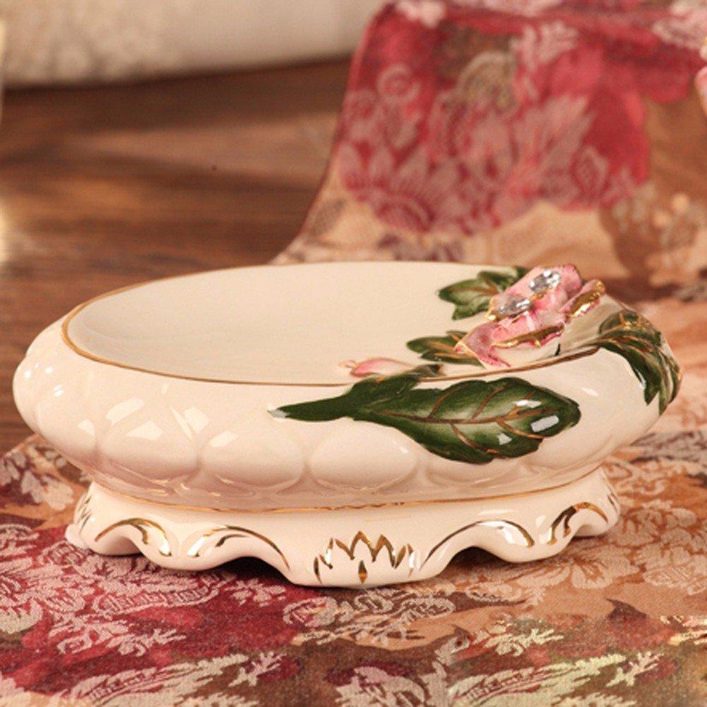 KHSKX Color Rosa con relieves Dorados Porta Cepillo de Dientes de cerámica Diamante Taza Taza de Cepillado Establecida,jabonera: Amazon.es: Hogar