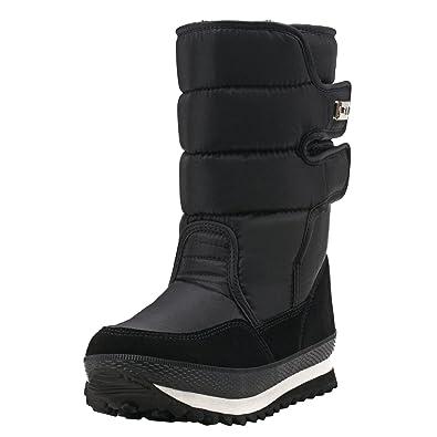 Women's Mid-Calf Velcro Textile Fabric Snow Boots E1037