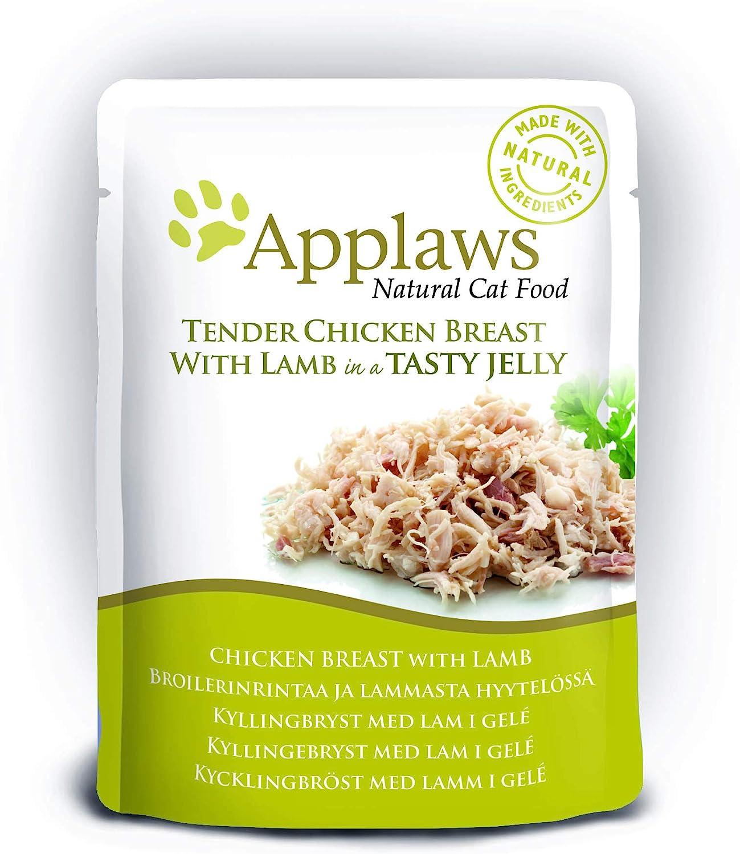 Applaws Chicken Food Chicken con cordero en gelatina, 16 bolsas de 70 g