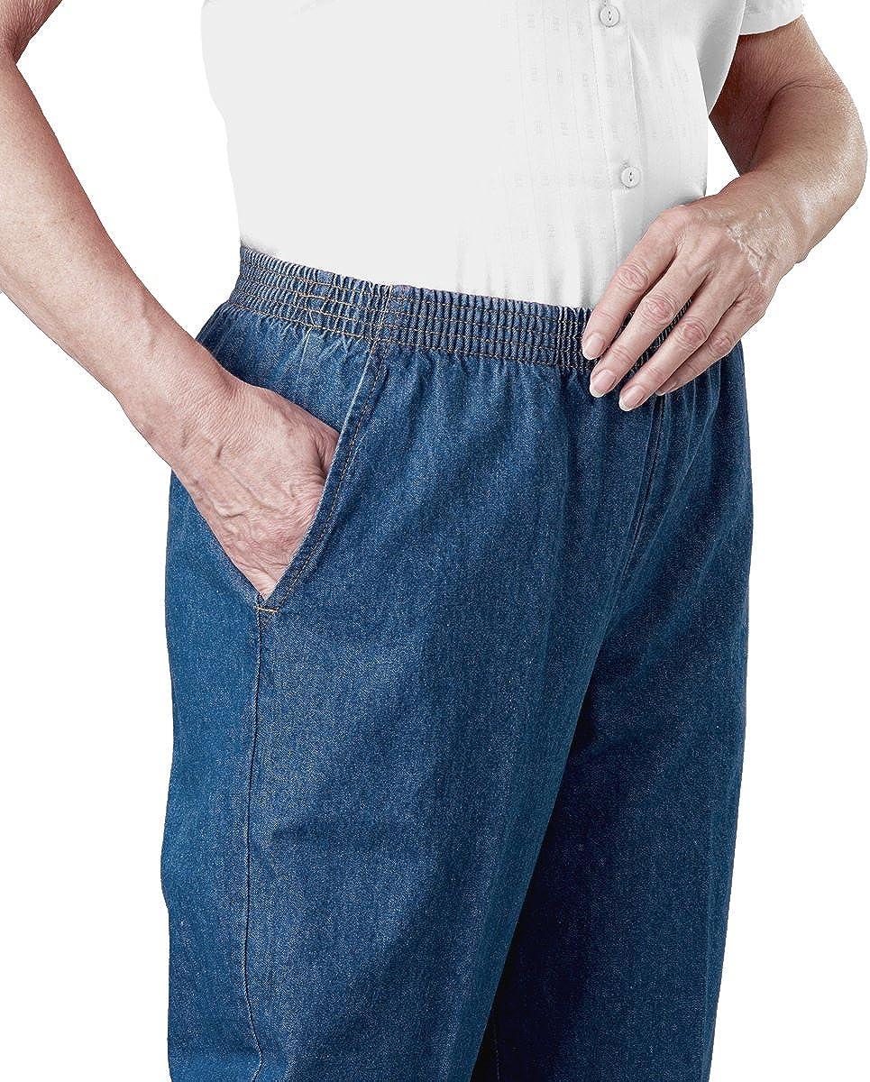 Womens Regular Arthritis Elastic Waist Pull On Jean Pants