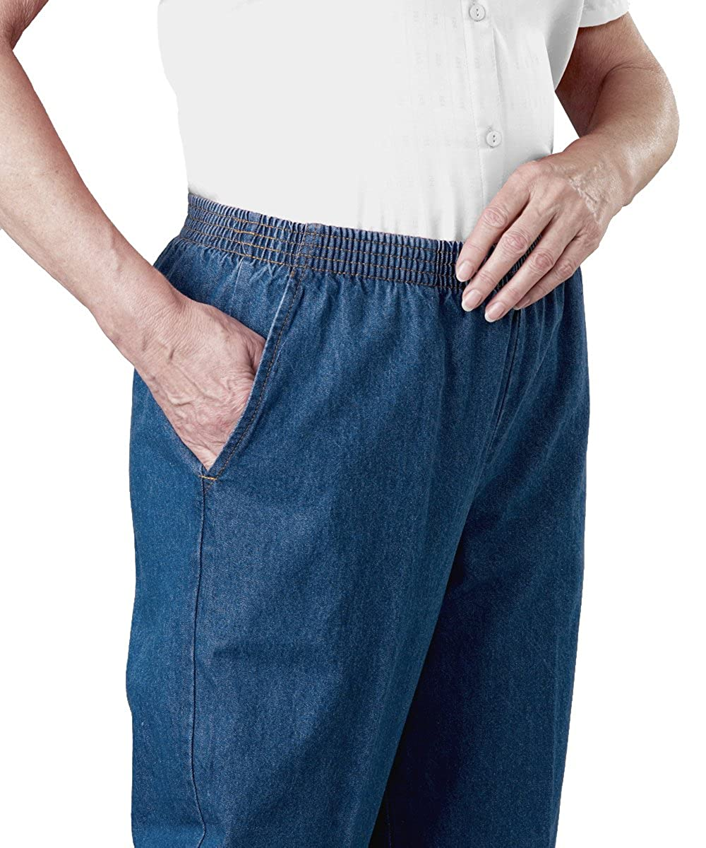 Womens Regular Arthritis Elastic Waist Pull On Jean Pants Silvert's 13030