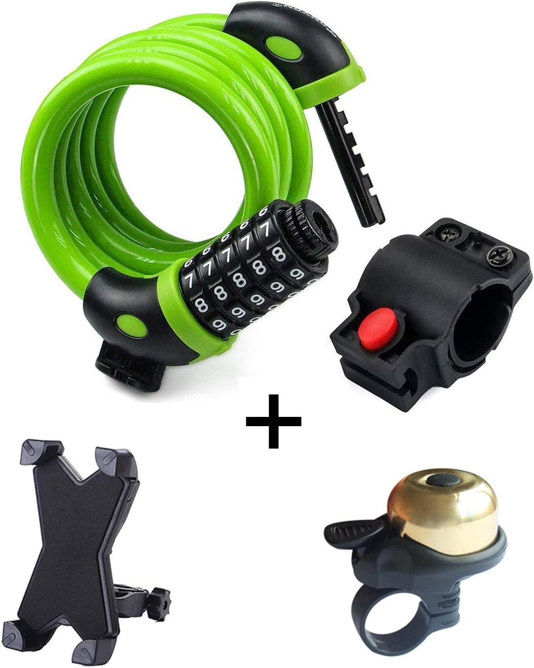 1.2mx12mm with Bike Phone Holder Hexu Bike Lock High Security 5 Digit Resettable Combination Coiling Cable Lock Best for Bicycle Outdoors Bike Bell
