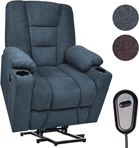 Maxxprime Upgraded Electric Power Lift Recliner Chair Sofa for Elderly, 23 Wide Comfortable, Premium Thickened Fabric, 3 Positions, 2 Side Pockets Cup Holders, Dual USB Ports Midnight Blue