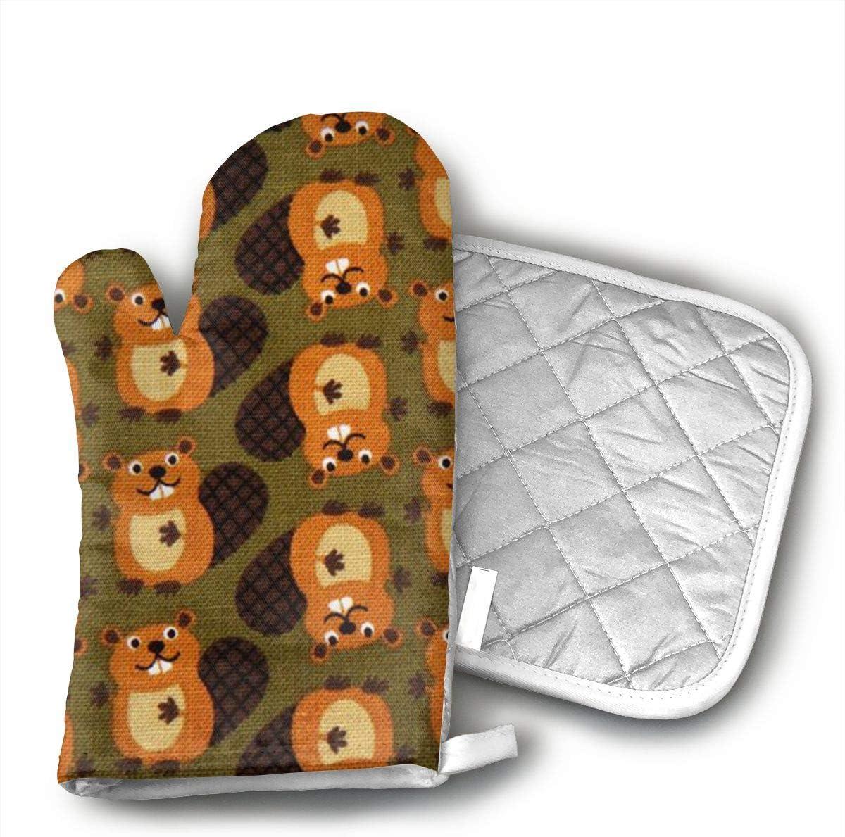 Beaver Oven Mitts Heat Resistant Kitchen Gloves and Potholders BBQ Gloves-Cotton Pot Holders Non Slip Oven Gloves for Kitchen