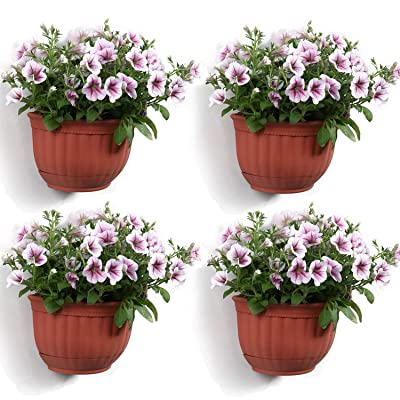 T4U Resin Wall Planter Brick Red Set of 4, Wall Mounted Garden Plant Flower Pot Basket Container Indoor Outdoor Use for Orchid Herb Aloe Succulent Cactus Home Office Porch Wall Decoration Gift: Garden & Outdoor