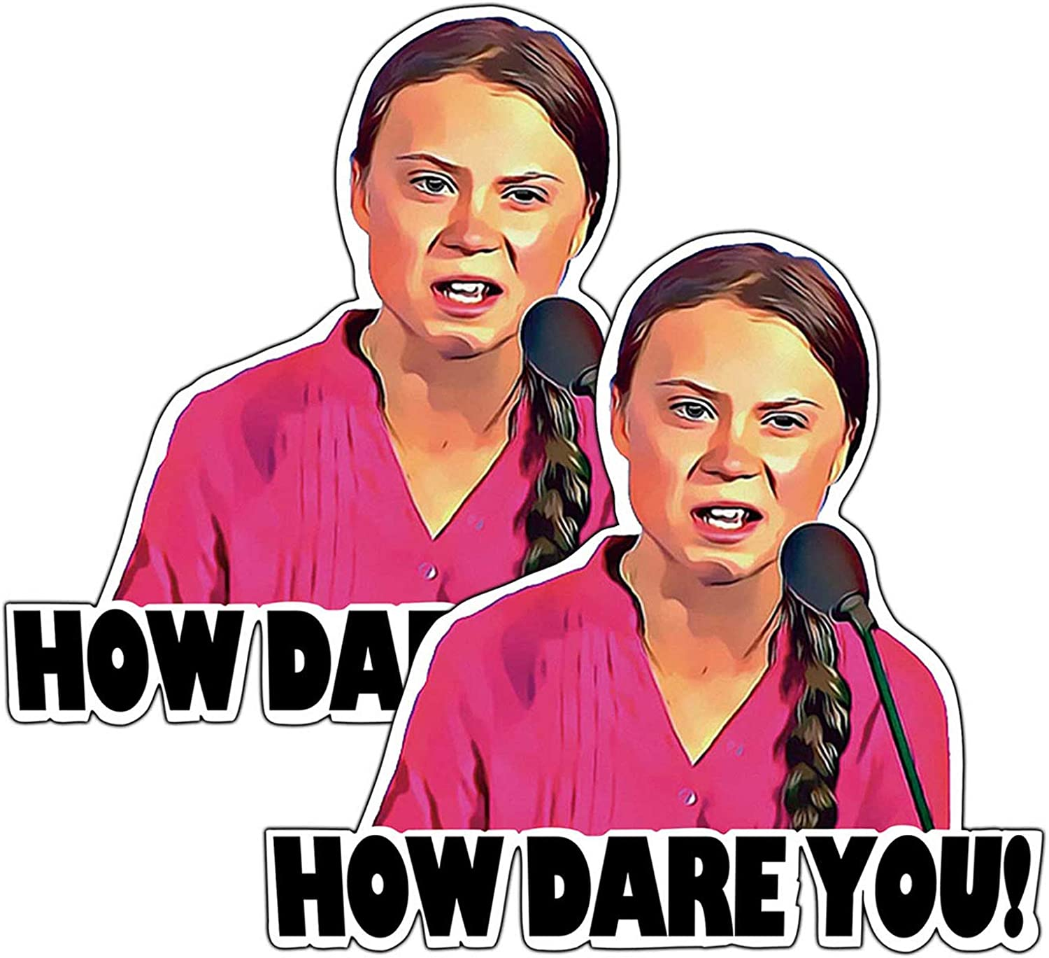 2-Pack How Dare You Laptop Stickers Decal, Greta Thunberg Decal-Funny Vinyl Decals for Laptop Car Bumper Window Decorations,Vivid Color and UV Fade Resistant 5x5