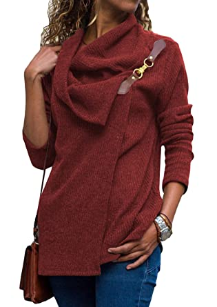 d9a0b12032 Women s Turtleneck Sweater Cowl Neck Chunky Knit Loose Button Wrap Long  Sleeve Pullover Sweatshirt Tops Coat