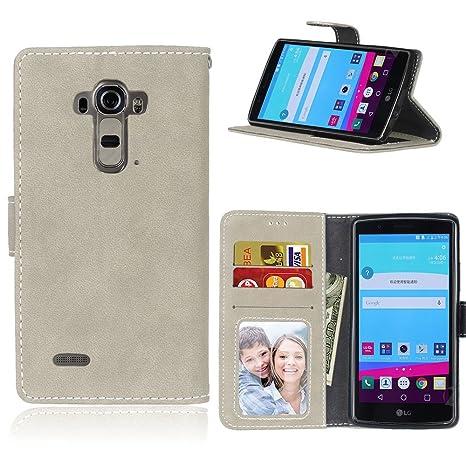 pinlu Funda Para LG G4 (5.5pulgada) Alta Calidad Función de plegado Flip Wallet Case Cover Carcasa Piel Retro Scrub PU Billetera Soporte Con Ranuras ...
