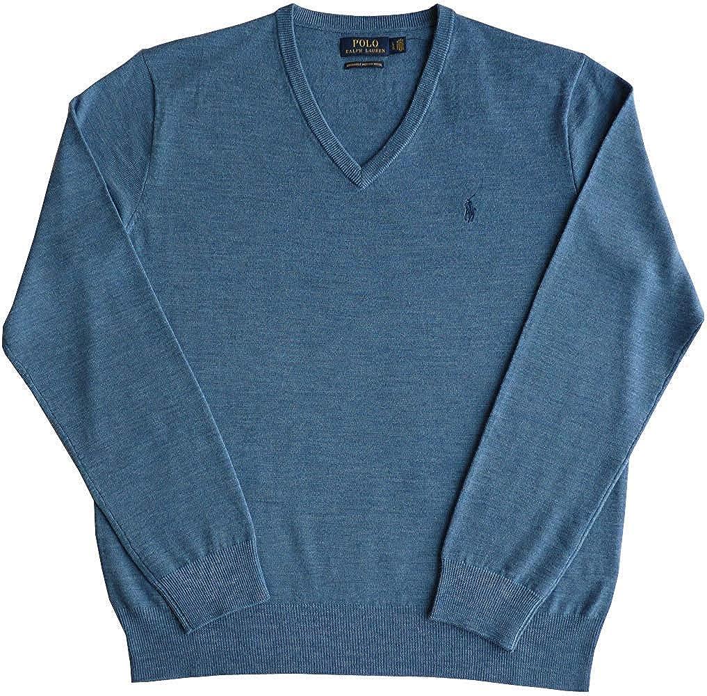 Polo Ralph Lauren Jersey, XL, Flequillo Logo, Azul, Lavable Merino ...