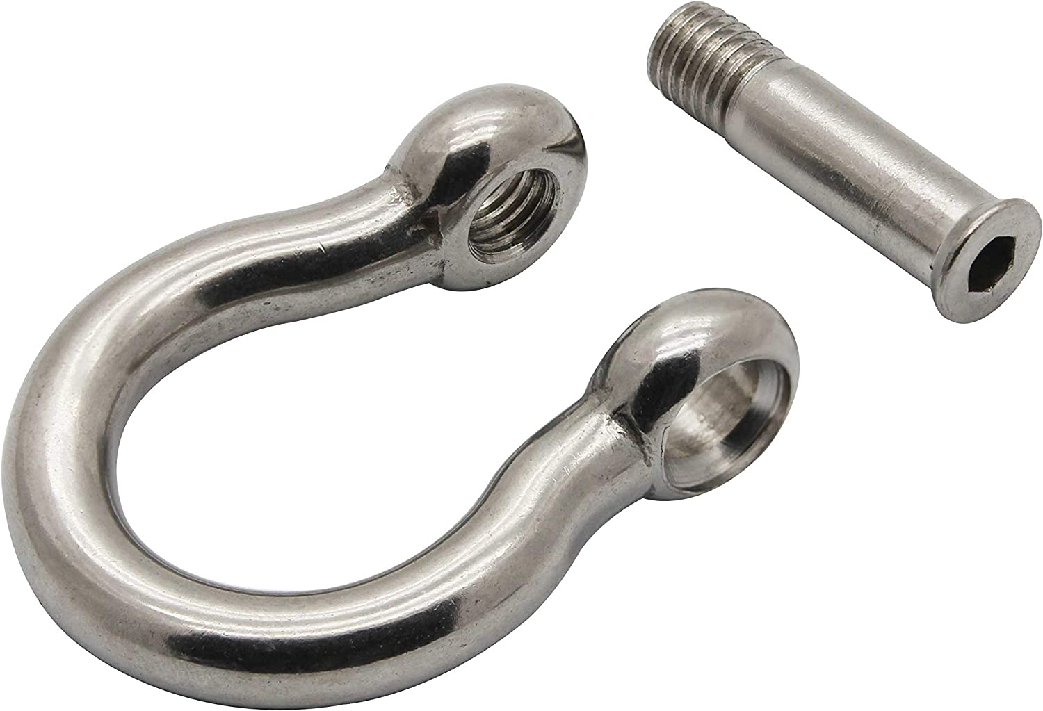 2-Pack Extreme Max 3006.8405.2 BoatTector Stainless Steel Bow Shackle with No-Snag Pin 1//4