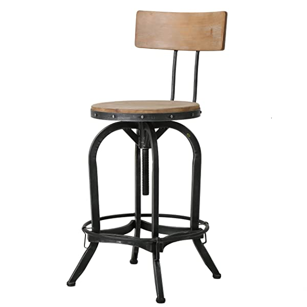 Ximen Naturally Antique Fir Wood Barstool w/Backrest by Christopher Knight Home