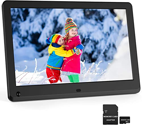 Digital Picture Frame 12 Inch 1920×1080 16 9 IPS Screen Photo Auto Rotate, Motion Sensor, 1080P Video Frame, Auto Play Photo Video Music, Background Music, Auto Turn On Off, Include 32GB SD Card