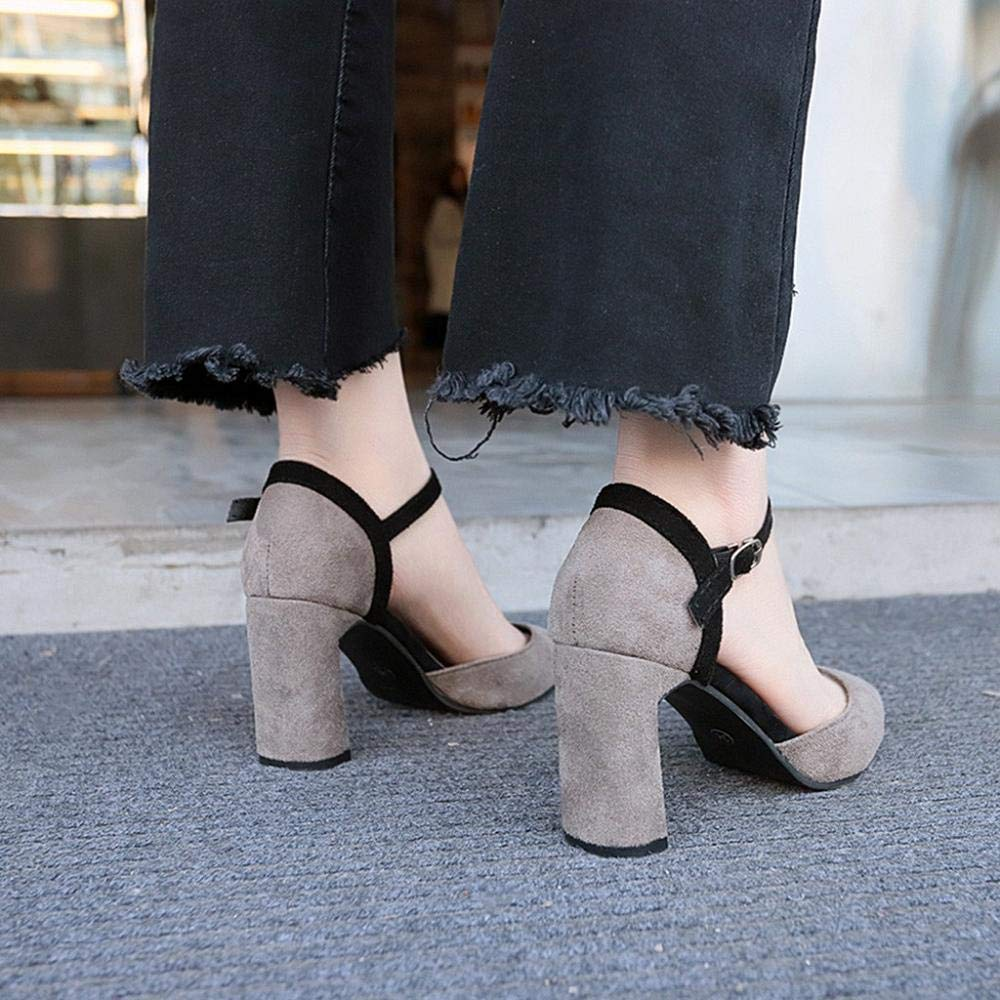 Womens Buckle Strap High Heels Casual Pointed Toe Work Shoes Sandals
