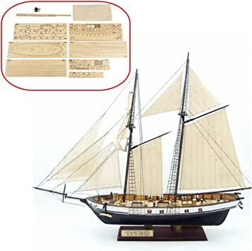 HAPYLY 1130 Scale DIY Hobby Wooden Ship Science Equipmen Assembly Model Boat Kits Sailing Boat Kit Decor Toy Gift