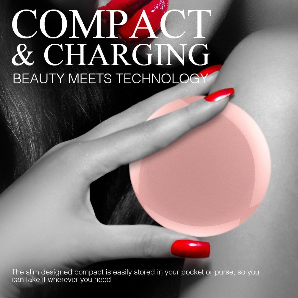 Batterie Externe Miroir Lumière LED - OrimeCharger PB76m Power Bank 1600mAh, Mini Miroir Maquillage Voyage, Cadeau pour femme/fille/maman/épouse/petite amie/soeur (Or rose)
